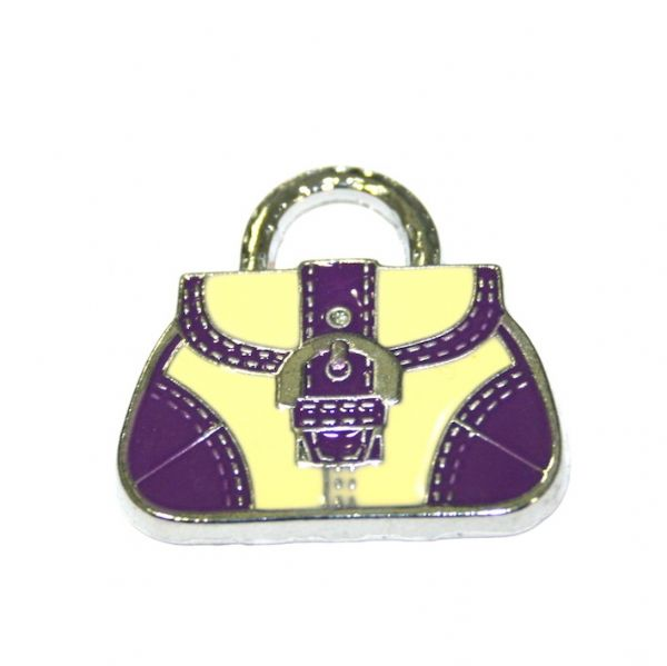 1pce x 24*22mm Rhodium plated purple/cream handbag with buckle enamel charm - SD03 - CHE1093
